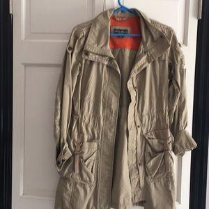 Eddie Bauer tan trench coat.